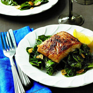 Recipe - Porcini-crusted Black Cod with Garlic Spinach