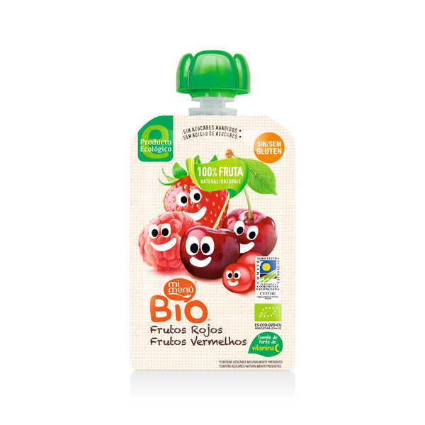 MiMenu Organic Gluten Free Red Baby Fruits (Strawberry, Cherry & Raspberry) 100g