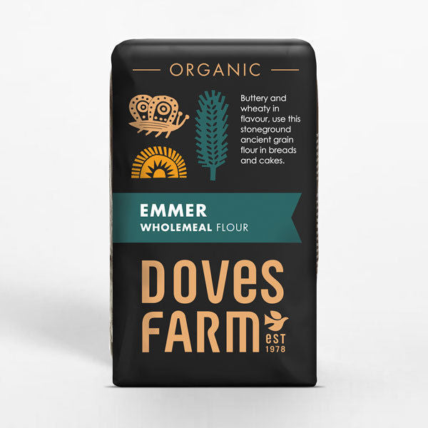 Doves Farm Organic Emmer Wholemeal Stoneground Flour 1Kg
