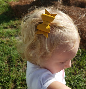 Emmy Bow Style || Solid Faux Leather Bow || Choose Bow Color