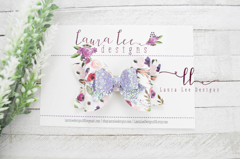 Fancy Izzy Bow || Floral Vegan Leather