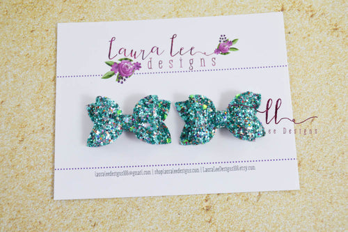 Pippy Style Pigtail Bow Set || Bahama Breeze Glitter Bows