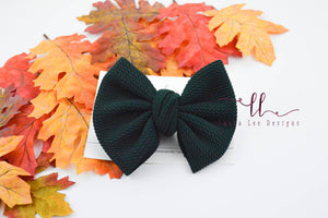Large Julia Messy Bow Style Bow || Hunter Green