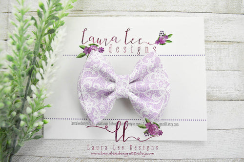 Little Millie Bow Style || Purple Lace Print Vegan Leather