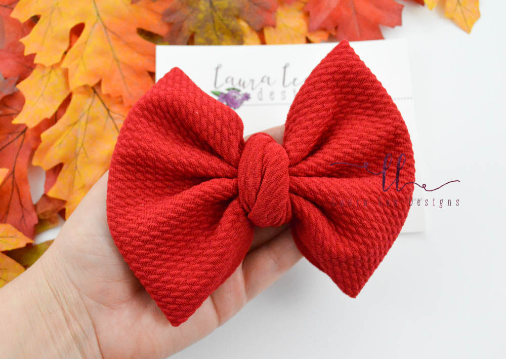Large Julia Messy Bow Style Bow || Red
