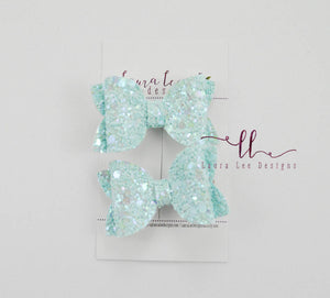 Pippy Style Pigtail Bow Set || Blue Fairy Dust Glitter