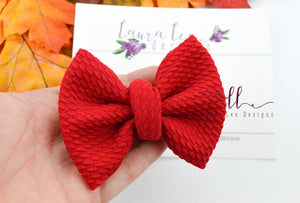 Small Julia Messy Bow Style Bow || Red