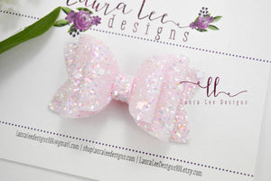 Stacked Winnie Bow Style || Light Pink Brilliance Glitter