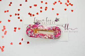 Elegant Alligator Clip || Valentine's Day Glitter Oval Alligator Clip