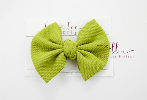 Large Julia Messy Bow Style Bow || Avocado Green