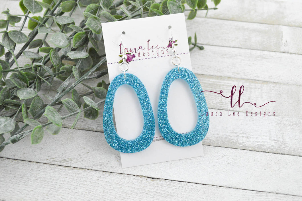 Resin Earrings || Aqua Blue Glitter Fat Teardrop