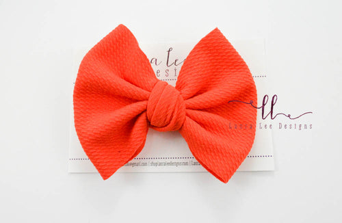 Large Julia Messy Bow Style Bow || Coral
