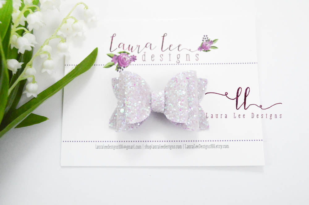 Stacked Winnie Bow Style || Lavender Frost Glitter