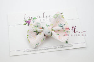 Small Julia Messy Bow Style Bow || Pink Floral on Stripes