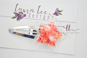 Shaker Snap Clip || Red Star Shaped Confetti Shaker Clip