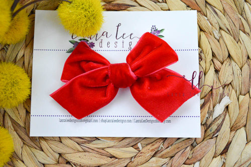 Timber Bows || Red Large Velvet Bow || Velvet Timber Bow Style