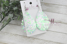 Resin Earrings || Seafoam Glitter Solid Teardrop