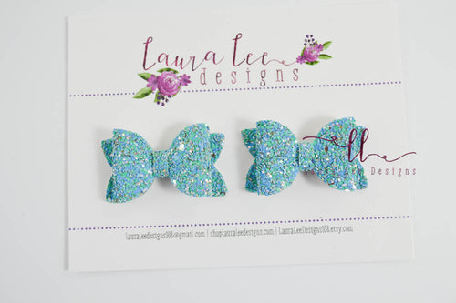 Pippy Style Pigtail Bow Set || Tropical Waters Glitter