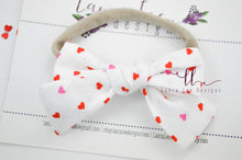 Small Handtied Timber Bow || Red and Pink Hearts
