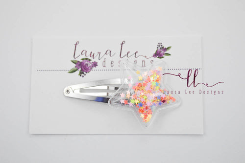 Shaker Snap Clip || Star Shaped Colorful Confetti Shaker Clip
