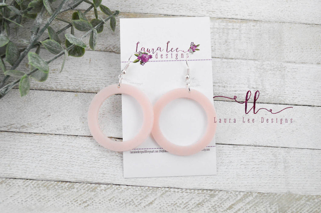 Resin Earrings || Vintage Pink Skinny Round