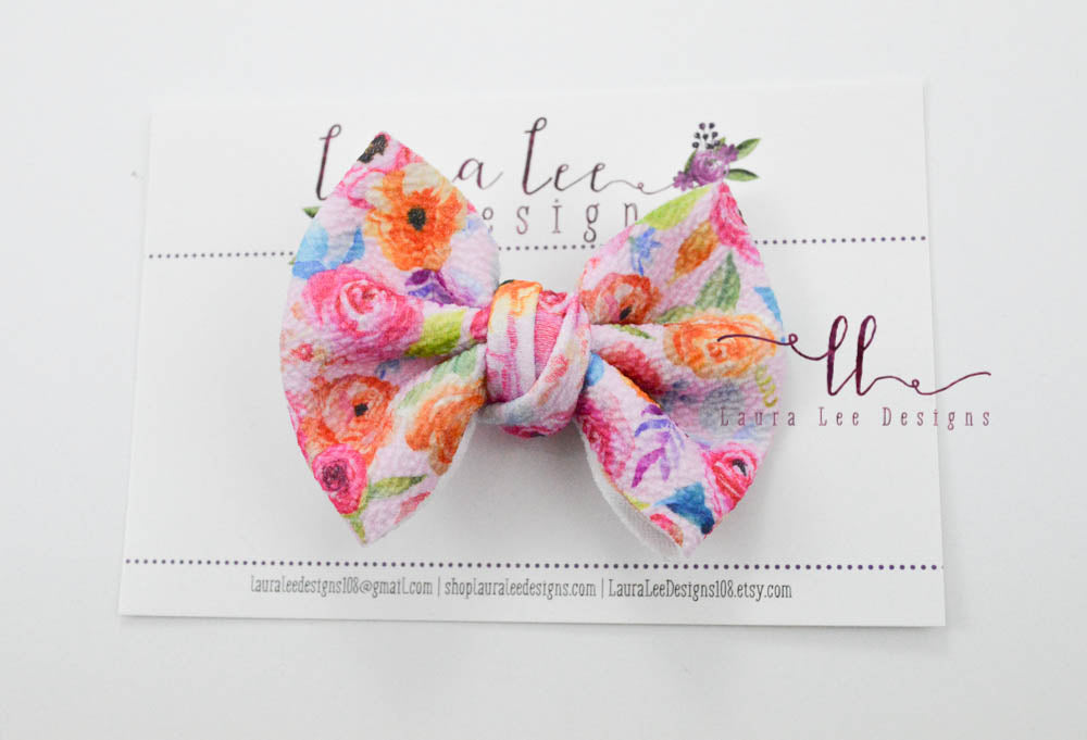 Small Julia Messy Bow Style Bow || Summer Floral