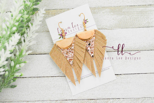 Rosemary Layer Earrings || Glitter and Vegan Leather