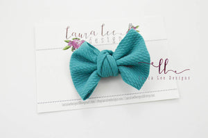 Small Julia Messy Bow Style Bow || Teal