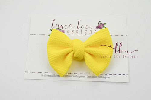 Small Julia Messy Bow Style Bow || Bright Yellow