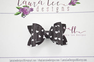 Stacked Pippy Style Bow ||  Black and White Hearts Vegan Leather