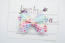 Scalloped Margo Style Bow || Watercolor Rainbow Hearts Vegan Leather