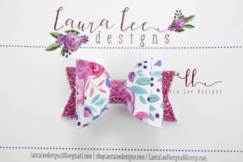 Stacked Mini Sabrina Style Bow || Purple Passion Floral