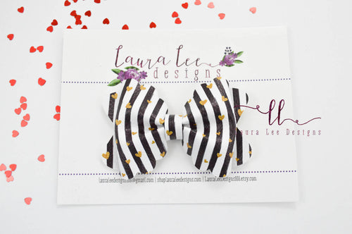 Scalloped Margo Style Bow || Black and White Stripes with Gold Hearts Vegan Leather
