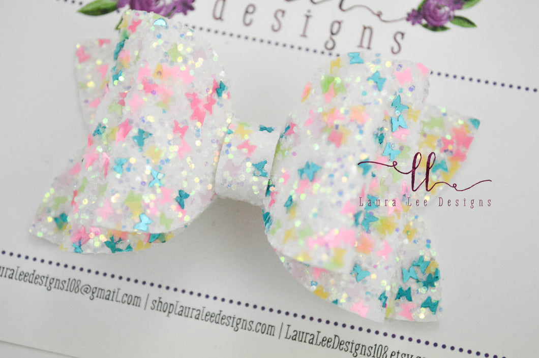 Stacked Izzy Style Bow || Colorful Butterflies Glitter