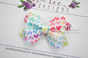 Mini Scalloped Margo Style Bow || Watercolor Rainbow Hearts Vegan Leather