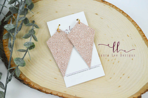 Veronica Earrings || Pink and Gold Waterfall Vegan Leather