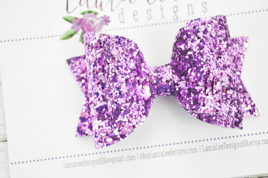 Medium Stacked Sabrina Style Bow || Lavender Glitter