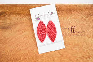 Petal Earrings || Red Braided Vegan Leather