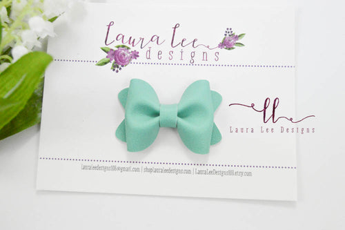 Mini Sasha Style Bow || Mint Solid Smooth Vegan Leather
