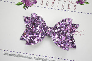 Mini Sabrina Style Bow || Lavender Fields Glitter
