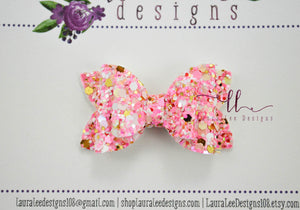 Stacked Pippy Style Bow || Tickled Pink Glitter