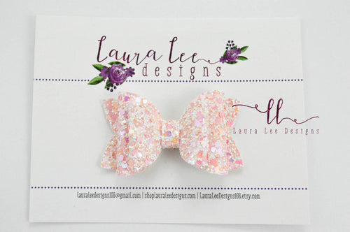 Stacked Winnie Bow Style || Blushing Pink Glitter