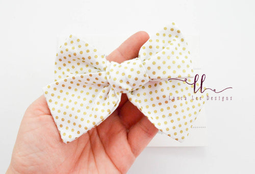 Large Handtied Timber Bow || Metallic Gold Polka Dots