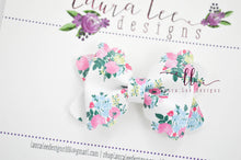 Mini Scalloped Margo Style Bow || Spring Bouquet Floral Vegan Leather