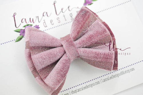 Little Millie Bow Style || Mauve Velvet Stripe