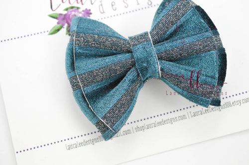 Little Millie Bow Style || Teal Velvet Stripe