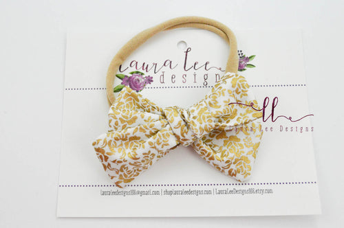 Small Handtied Timber Bow || Metallic Gold Floral