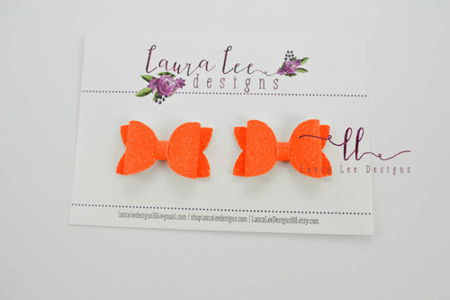 Pippy Style Pigtail Bow Set || Orange Super Sparkle Glitter