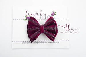 Little Millie Bow Style || Deep Red Velvet Stripe