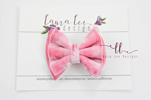 Little Millie Bow Style || Bubblegum Pink Crushed Velvet